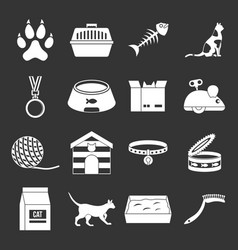Cat care tools icons set grey vector
