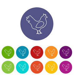 Chicken icons set color vector