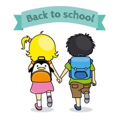 Children holding hands back to school vector