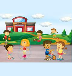 Children playing infront school vector
