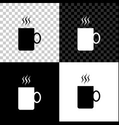coffee cup icon isolated on black white and vector image