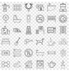 Cozy home icons set outline style vector