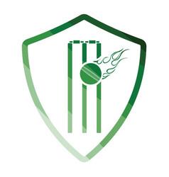Cricket shield emblem icon vector