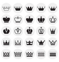 Crown set on circles white background for graphic vector