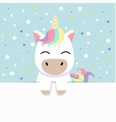 cute unicorn holding empty blank board vector image