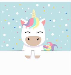 cute unicorn holding empty blank board vector image