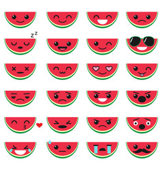 cute watermelon emoji set vector image