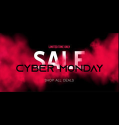 cyber monday sale concept on dark background with vector image