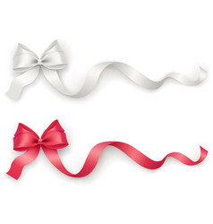 decorative red white bow with long ribbon on a vector image