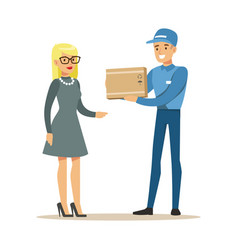 Delivery service worker bringing the box to blond vector