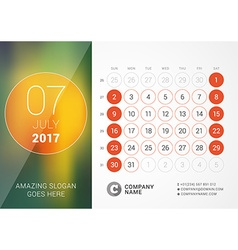 Desk Calendar for 2017 Year July Design Print vector image