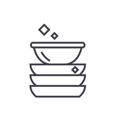 dishes line icon sign on vector image