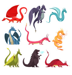 dragons monsters cartoon set vector image