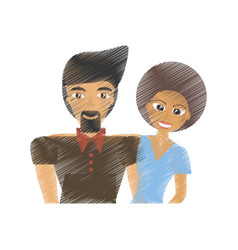 Drawing couple multiracial happy lovely vector
