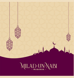Eid milad un nabi muslim festival greeting vector