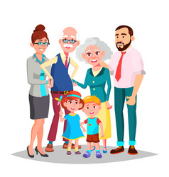 Family mom dad children grandparents vector