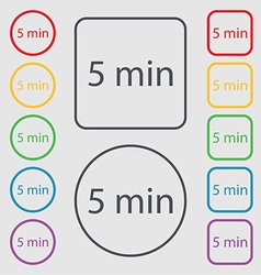 Five minutes sign icon Symbols on the Round and vector