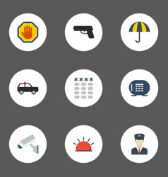 flat icons policeman keypad forbidden and other vector image