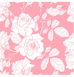 floral pink roses pattern for wedding invitations vector image