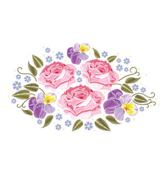Flowers roses and pansies isolated on white vector