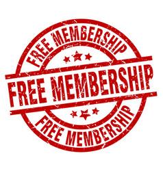Free membership round red grunge stamp vector