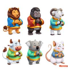funny animals lion gorilla ram bull koala mouse vector image