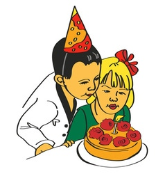 Girl and boy blow out the cake vector