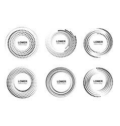 halftone circles with dots set circular dotted vector image