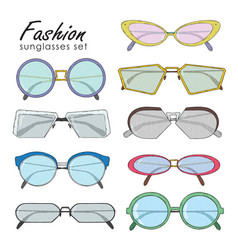 Hand drawn fashion sunglasses set realistic vector