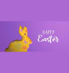 Happy easter holiday banner with paper art bunny vector
