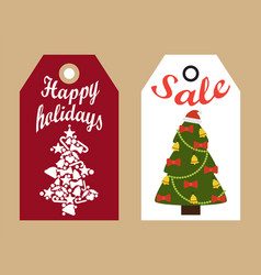 Happy holidays sale decorative tags new year trees vector
