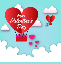 happy valentines day red heart balloon white cloud vector image
