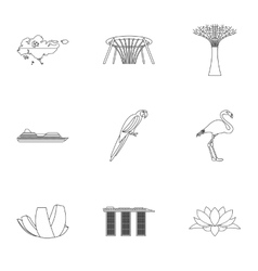 Holiday in Singapore icons set outline style vector image
