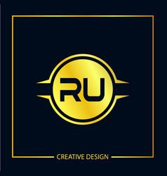 Initial letter ru logo template design vector