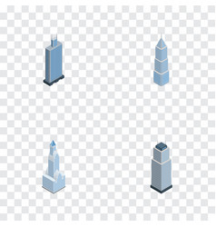 isometric building set of exterior tower vector image