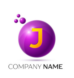 J letter splash purple dots and circle bubble vector