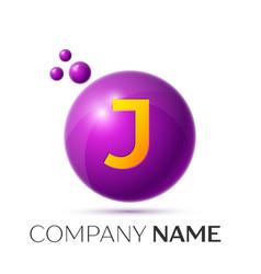j letter splash purple dots and circle bubble vector image