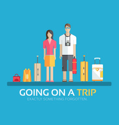 Journey vacation baggage in flat design background vector