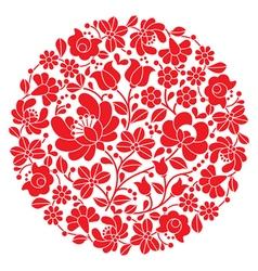 Kalocsai folk art embroidery - red Hungarian round vector