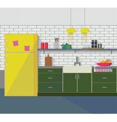 Kitchen furniture Cozy interior vector