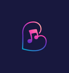 Letter b logo with musical note vector