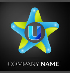 Letter u logo symbol in the colorful star on black vector