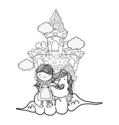 Little fairy with castle and unicorn in the clouds vector