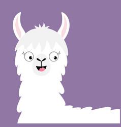 llama alpaca happy head face cute cartoon funny vector image