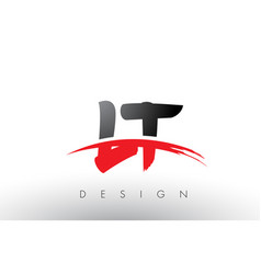 lt l t brush logo letters with red and black vector image