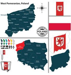 Map west pomeranian poland vector
