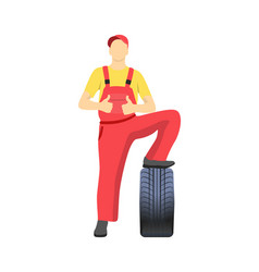 mechanic standing on tire and shows approval sign vector image