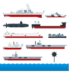 military ships flat vector image