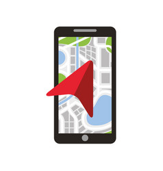 mobile phone with arrow navigation map city vector image