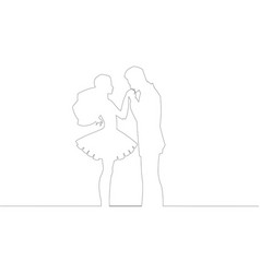 Newly wed pair countur line drawing outline vector